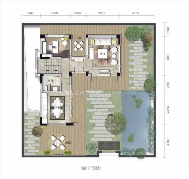 别墅一层 3室3卫 建面270㎡
