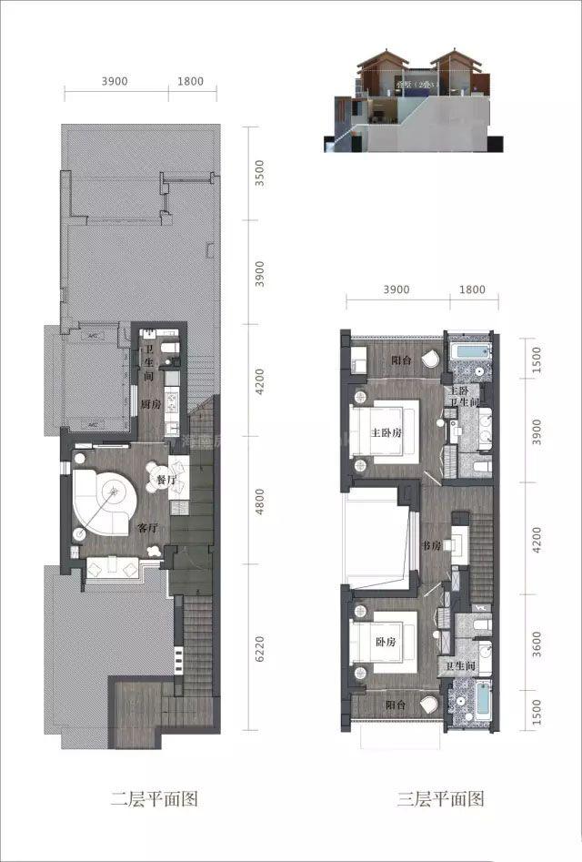 叠拼二三层 2室2卫 建面112㎡
