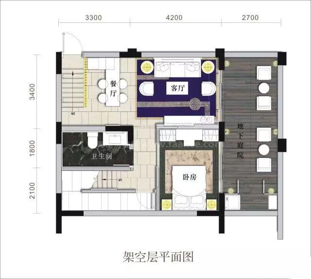 合院架空层 3室3卫 建面166㎡