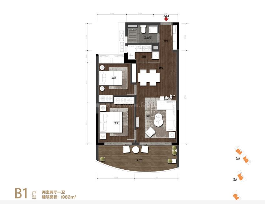 B1户型 2房2厅1厨1卫 建筑面积约82㎡
