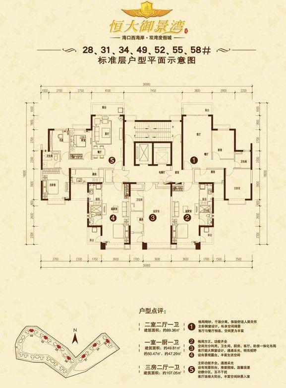 恒大御景湾二期28、31、34、49、52、55、58#户型平面示意图 1室1卫1厨建筑面积49.81㎡