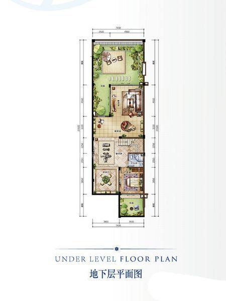 B新泰式别墅户型 地下层 3室2厅1卫1厨 建筑面积:128.00㎡