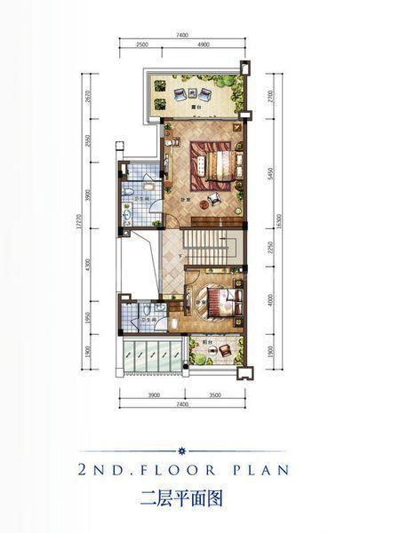 B新泰式別墅戶型 二層 3室2廳1衛1廚 建筑面積:128.00㎡