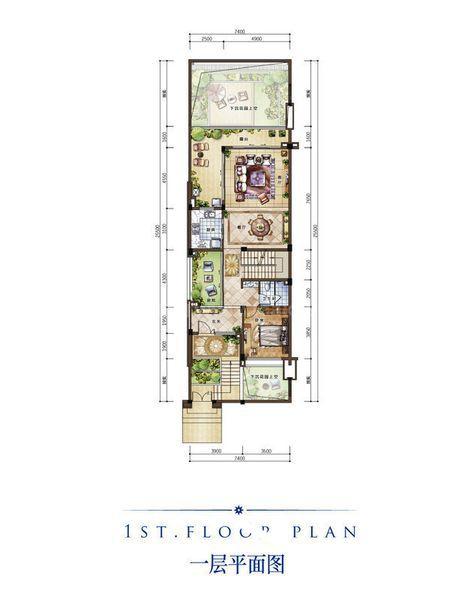 B新泰式别墅户型 一层 3室2厅1卫1厨 建筑面积:128.00㎡