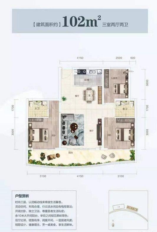 3房2厅1厨2卫 建筑面积约102㎡