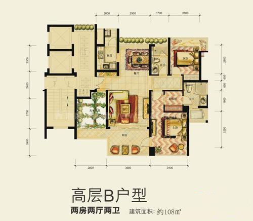 高层B户型2室2厅2卫建筑面积108㎡