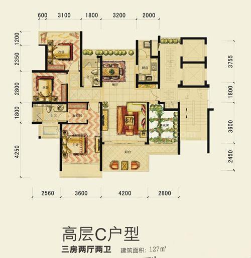 高层C户型3室2厅2卫建筑面积127.00㎡