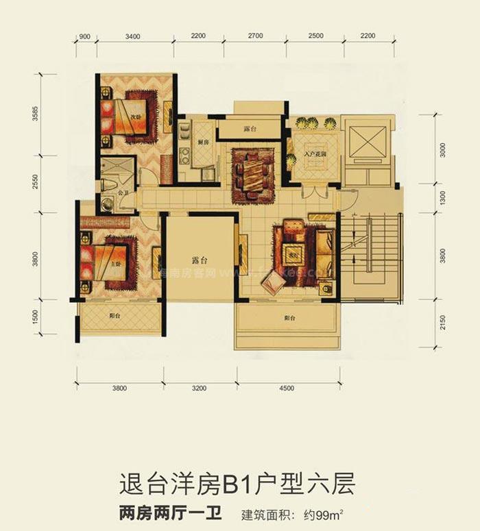 洋房B1户型六层2室2厅1卫建筑面积99.00㎡