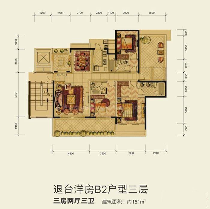 洋房B2户型三层3室2厅3卫建筑面积151.00㎡