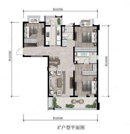 户型 3室2厅2卫 建面:124㎡