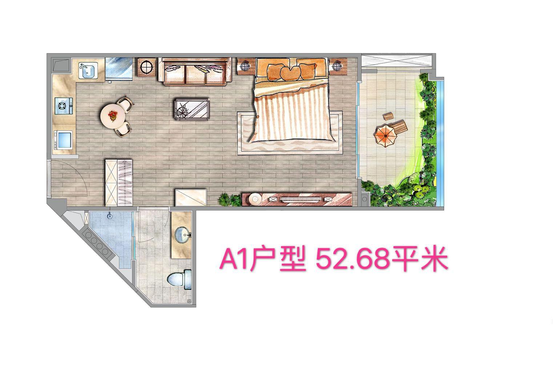 A1户型 1房1厨1卫 建筑面积约52.68㎡