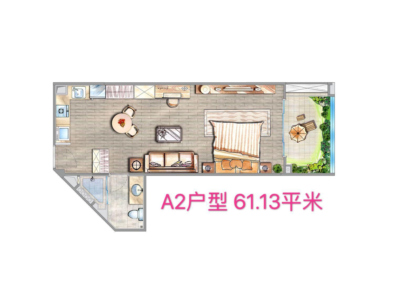 A2户型 1房1厨1卫 建筑面积约61.13㎡