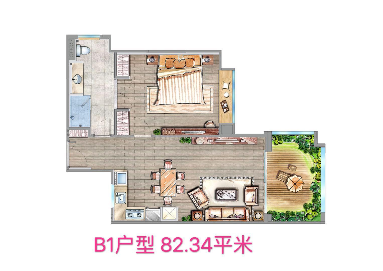 B1户型 1房1厨1卫 建筑面积约82.34㎡