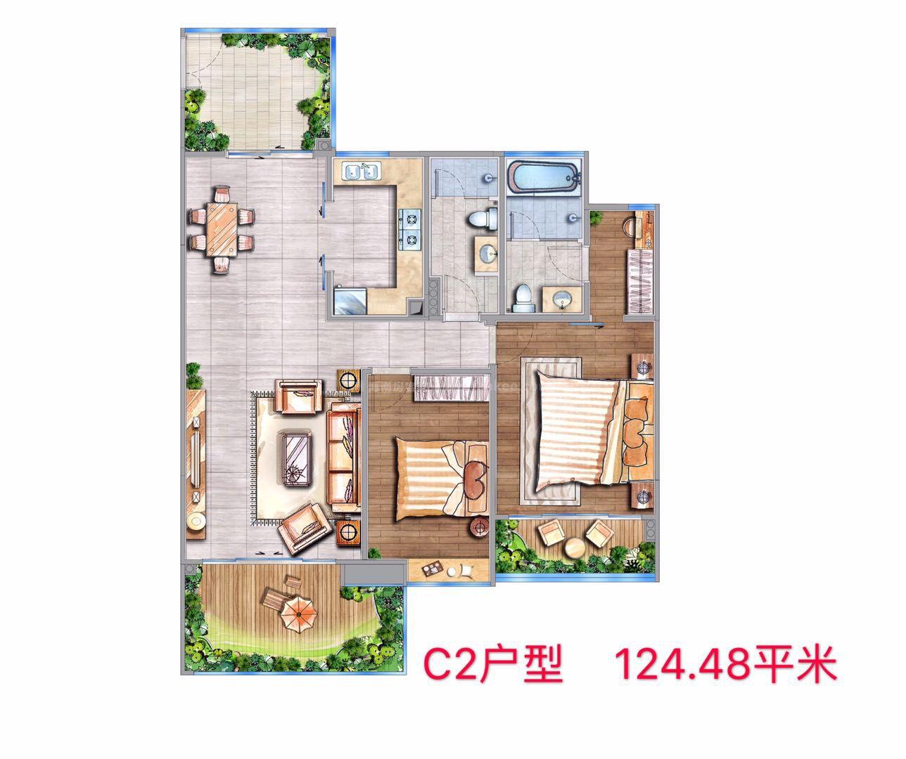C2户型 2房1厅1厨2卫 建筑面积约124.48㎡