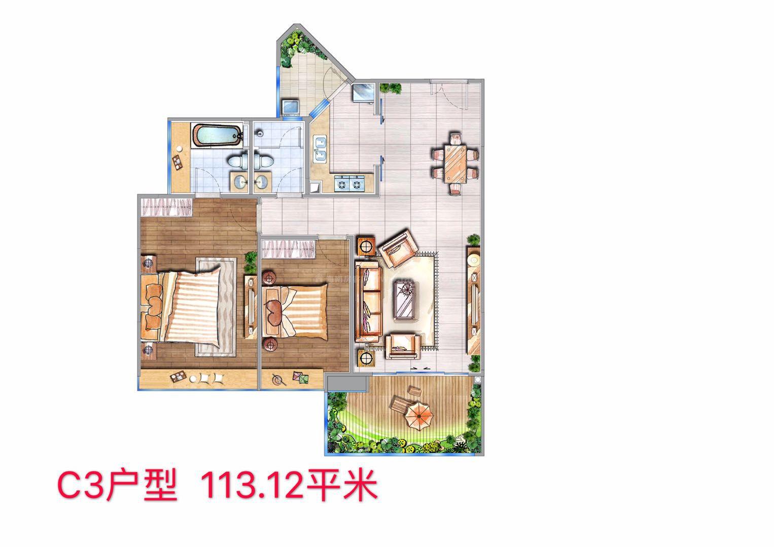 C3户型 2房1厅1厨2卫 建筑面积约113.12㎡