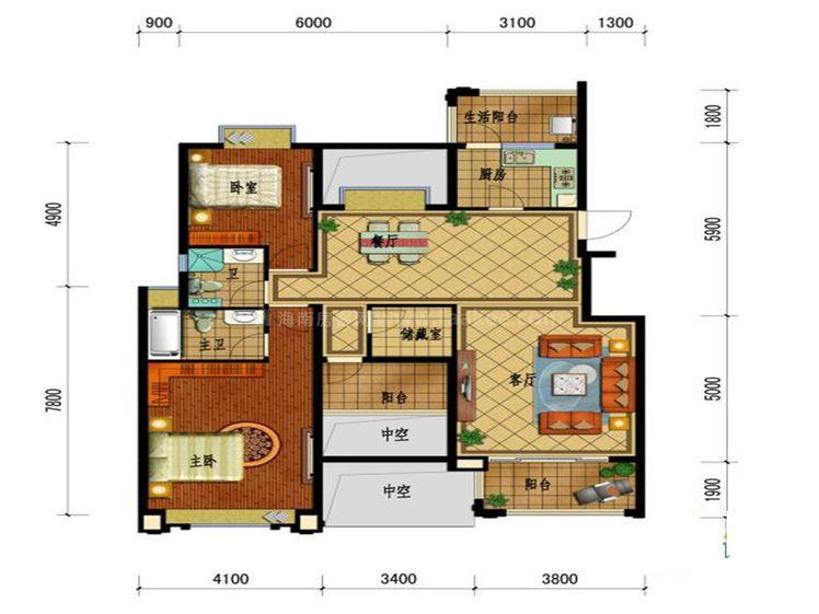 C户型标准层 2室2厅2卫--厨 建筑面积:112.16㎡