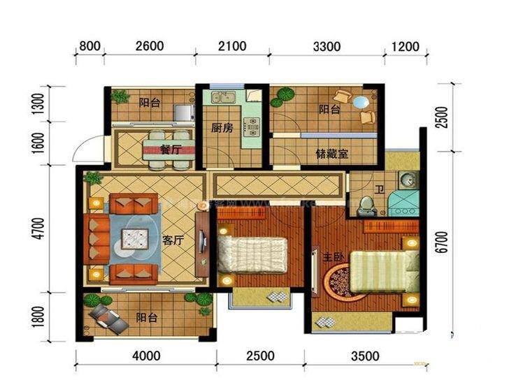 E-2标准层 2室2厅1卫--厨 建筑面积:73.55㎡