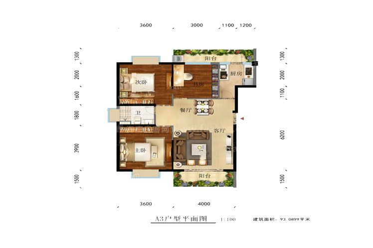 凌云里A3户型 3室2厅1卫1厨 建筑面积:93.00㎡