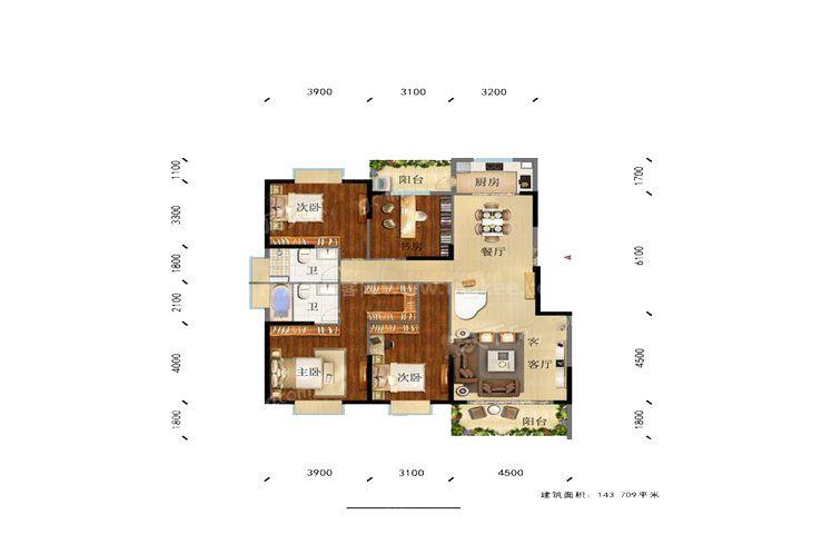 凌云里K3户型 4室2厅2卫1厨 建筑面积:143.00㎡