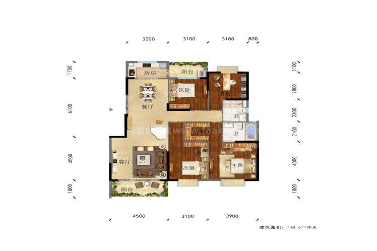 凌云里K4户型 4室2厅2卫1厨 建筑面积:139.00㎡
