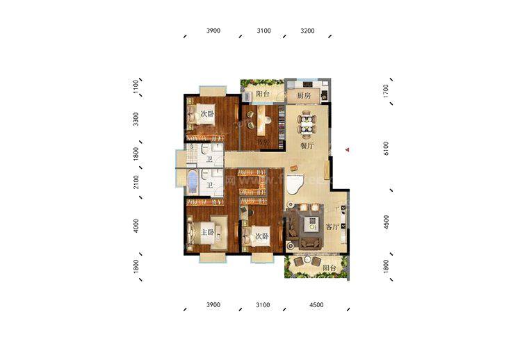 凌云里KI户型 4室2厅2卫1厨 建筑面积:144.00㎡