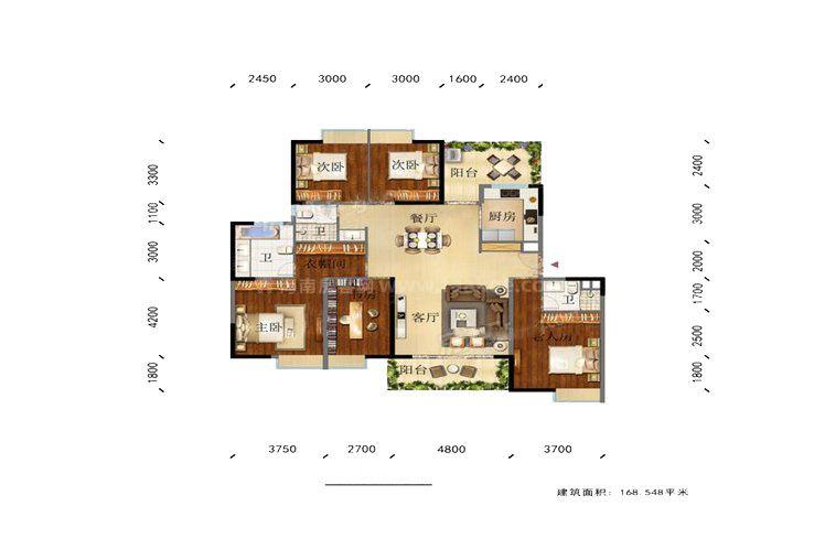 凌云里L3户型 5室2厅3卫1厨 建筑面积:169.00㎡