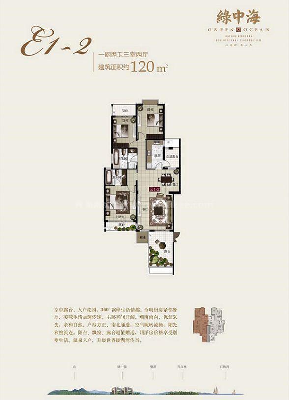 E1-2户型 3房2厅1厨2卫 建筑面积约120㎡