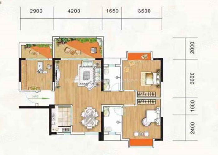 3室2厅2卫建面约103m²