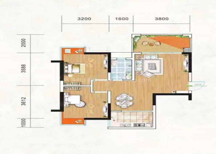 2室2厅1卫建面约76m²
