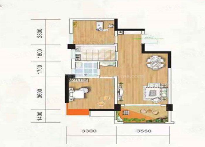 2室2厅1卫建面约72m²