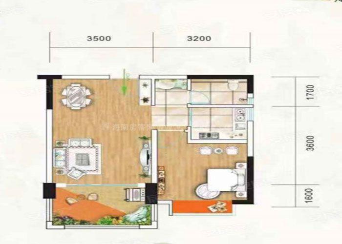 1室2厅1卫 建筑面积:约59m²