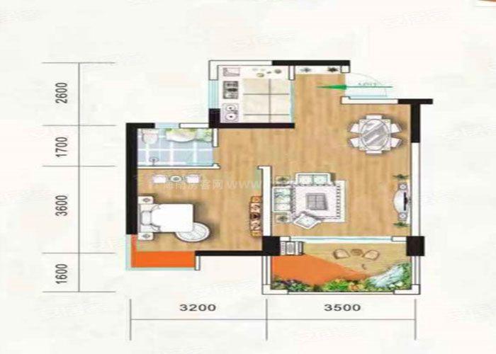 1室2厅1卫 建筑面积:约58m²