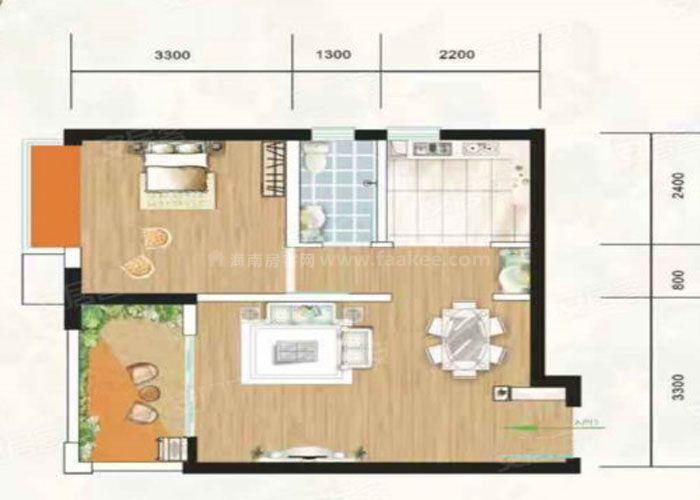 1室2厅1卫 建筑面积:约51m²