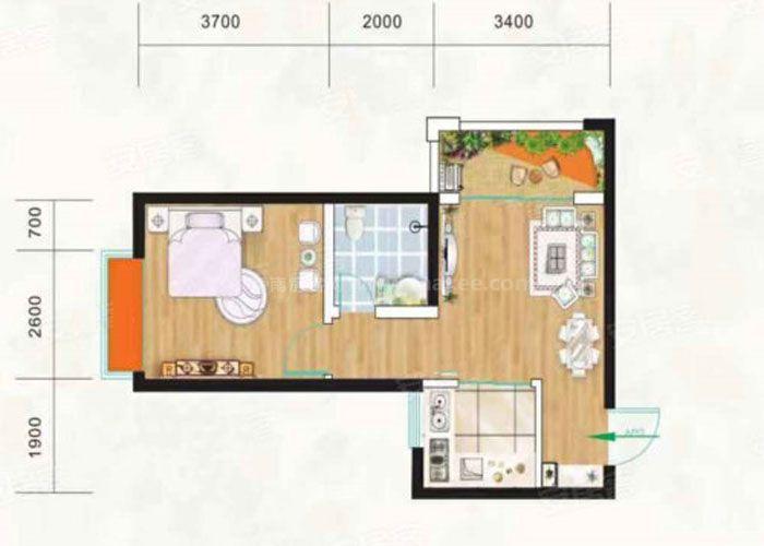 1室1厅1卫 建筑面积:约48m²
