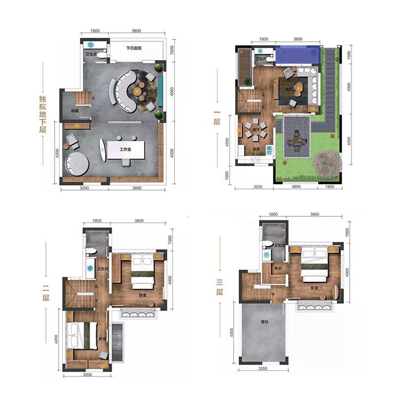 北区独院 3室3厅4卫 建面164㎡