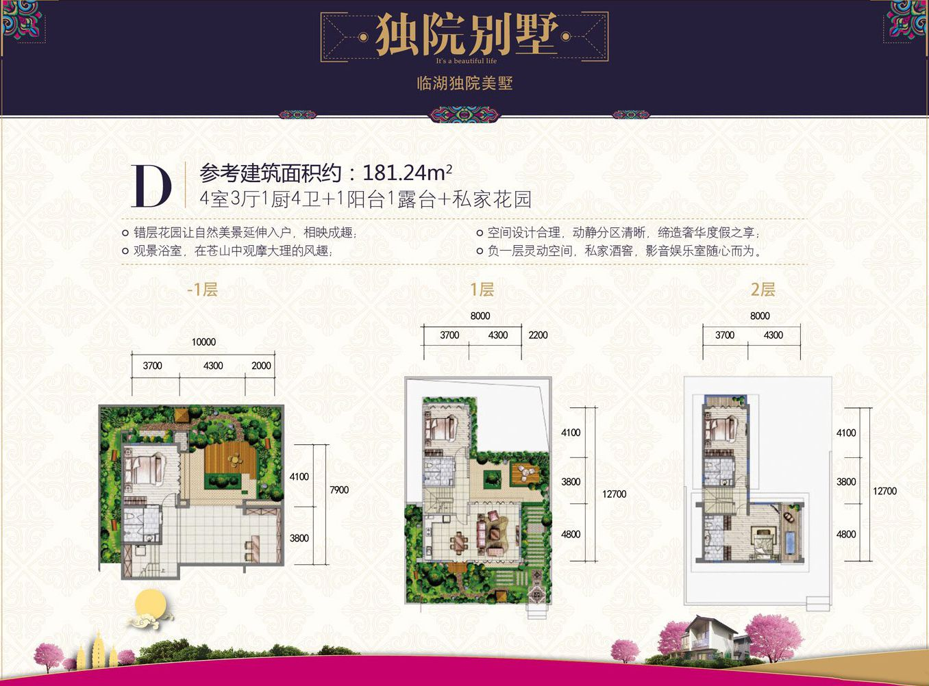 北区独院D户型 4室3厅1厨4卫1阳台1露台+私家花园 建面181.24㎡