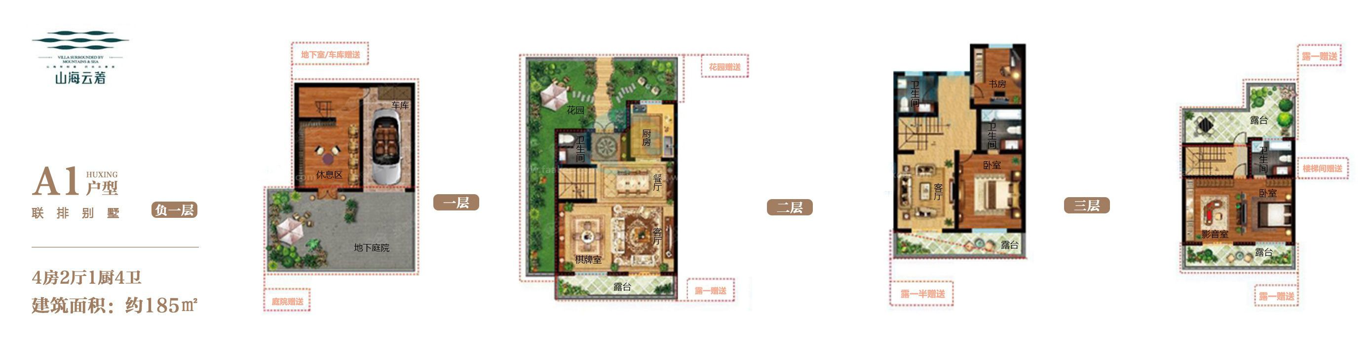 联排别墅A1户型 4房2厅1厨4卫 建面约185㎡