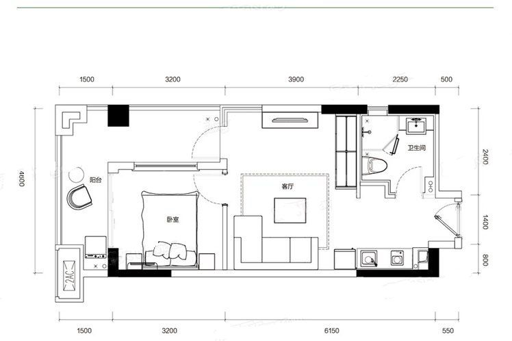 G4户型 1室1厅1卫1厨 建筑面积:58.00㎡