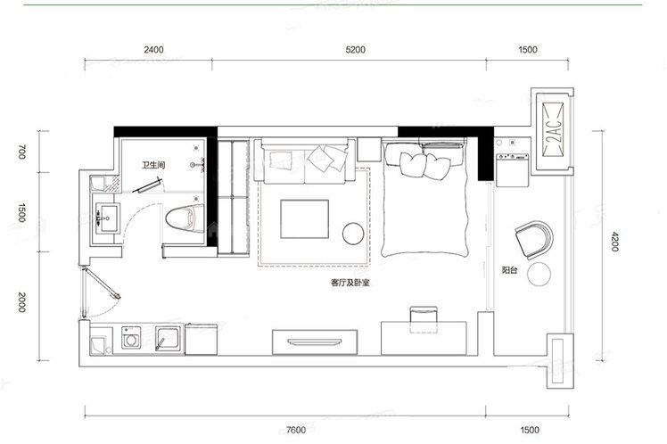 G6户型 1室1厅1卫1厨 建筑面积:45.00㎡