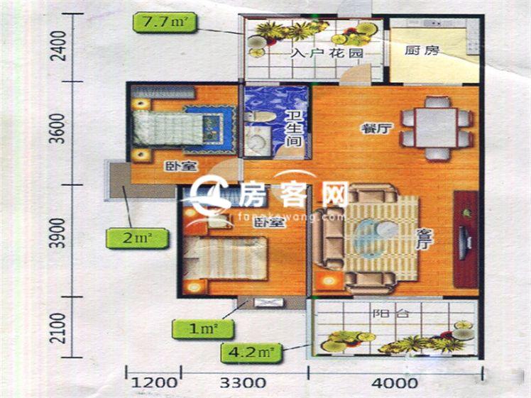一期1#2#F2户型 2室2厅1卫1厨 建面89.35㎡