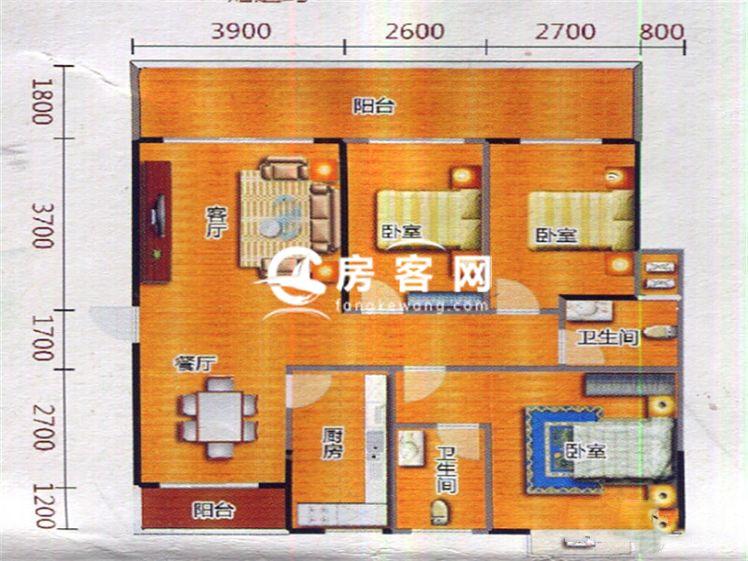 二期37#38#H1户型 3室2厅2卫1厨 建面133.06㎡