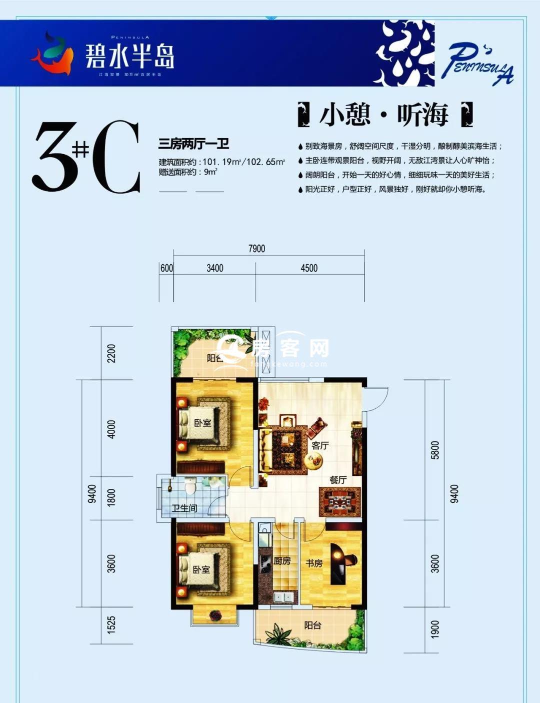 3C#户型 3室2厅1卫 建面101.19-102.65㎡