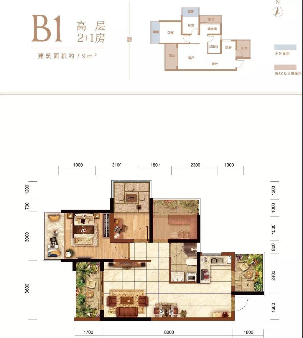 B1高层 2+1房2厅1厨1卫3阳台  建面约79㎡