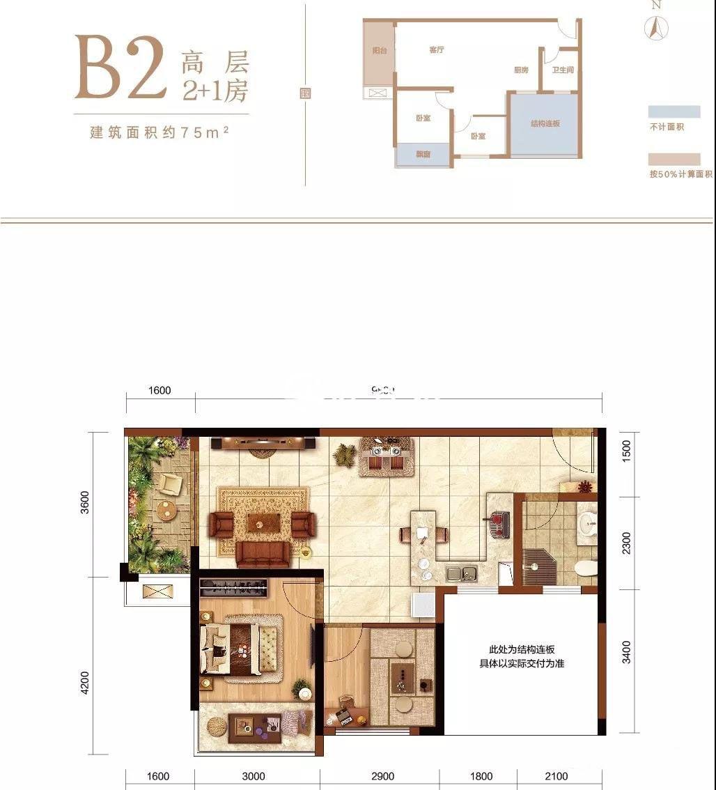 B2高层 2+1房1厅1厨1卫1阳台  建面约75㎡