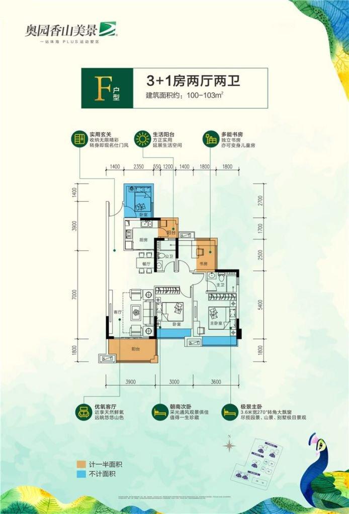 F户型 3+1房2厅1厨2卫 建筑面积约100-103㎡