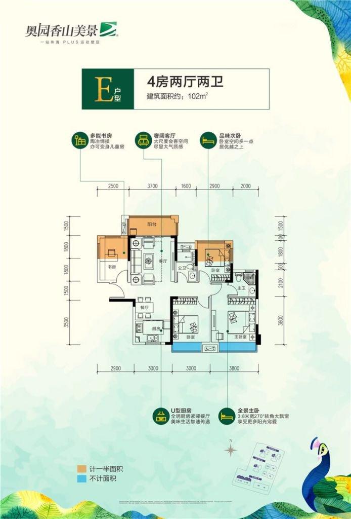 E户型 4房2厅1厨2卫 建筑面积约102㎡
