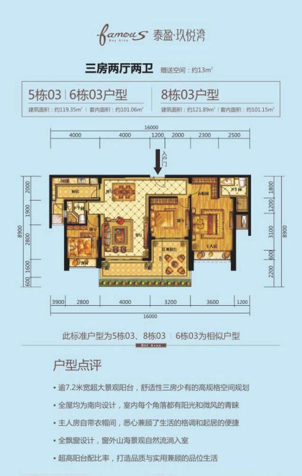03户型 3房2厅2卫 建面119.35-121.89㎡