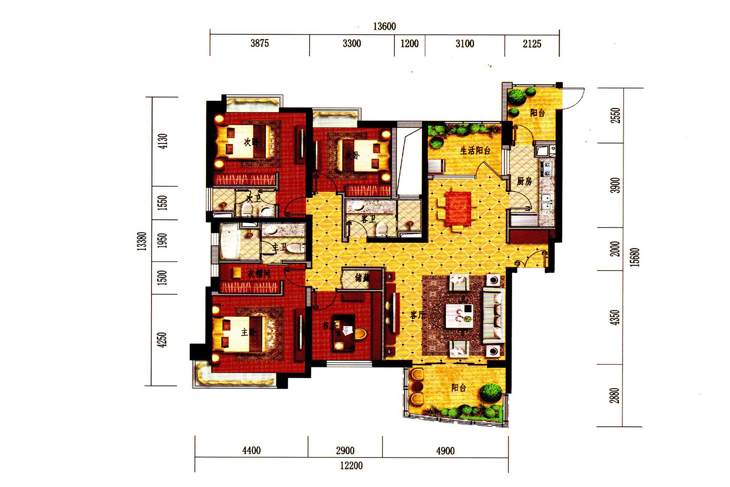 C1-1户型 4房2厅3卫1厨3阳台 建面183㎡