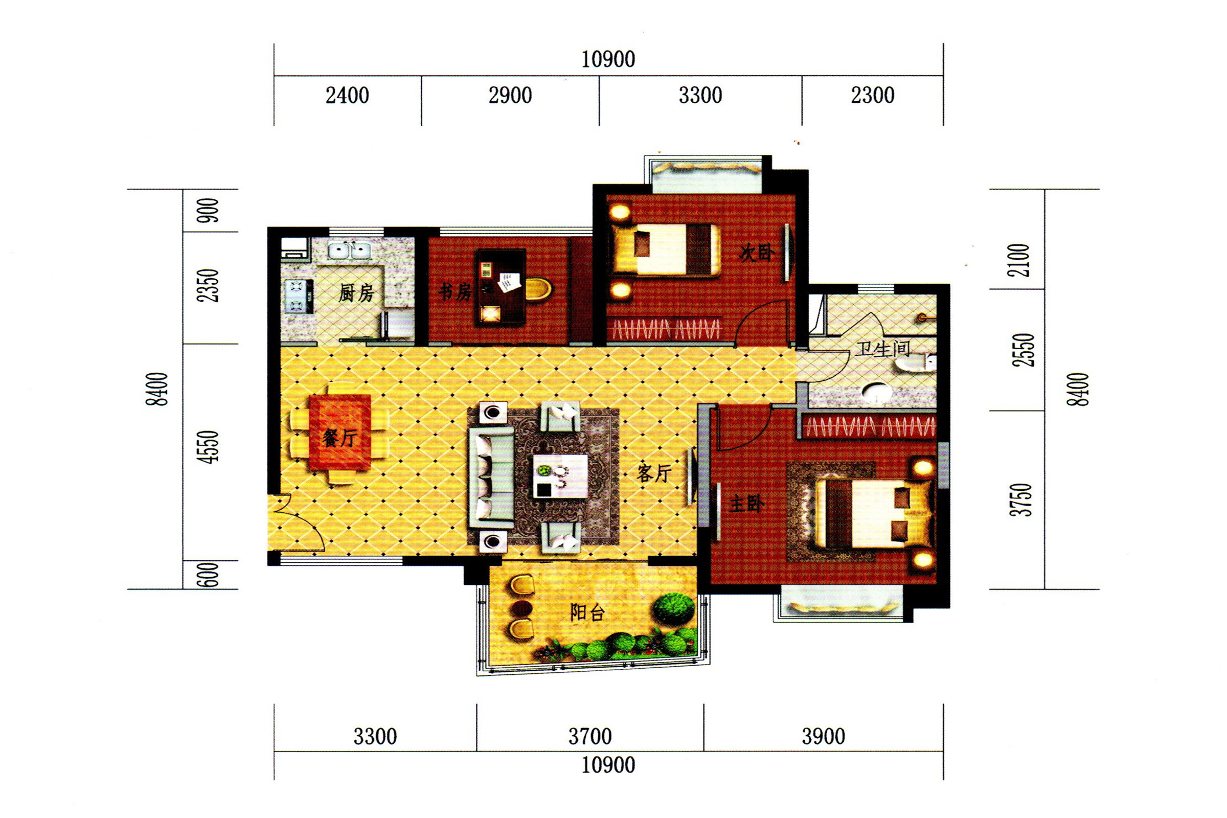 C2-3户型 3房2厅1卫1厨 建面96㎡