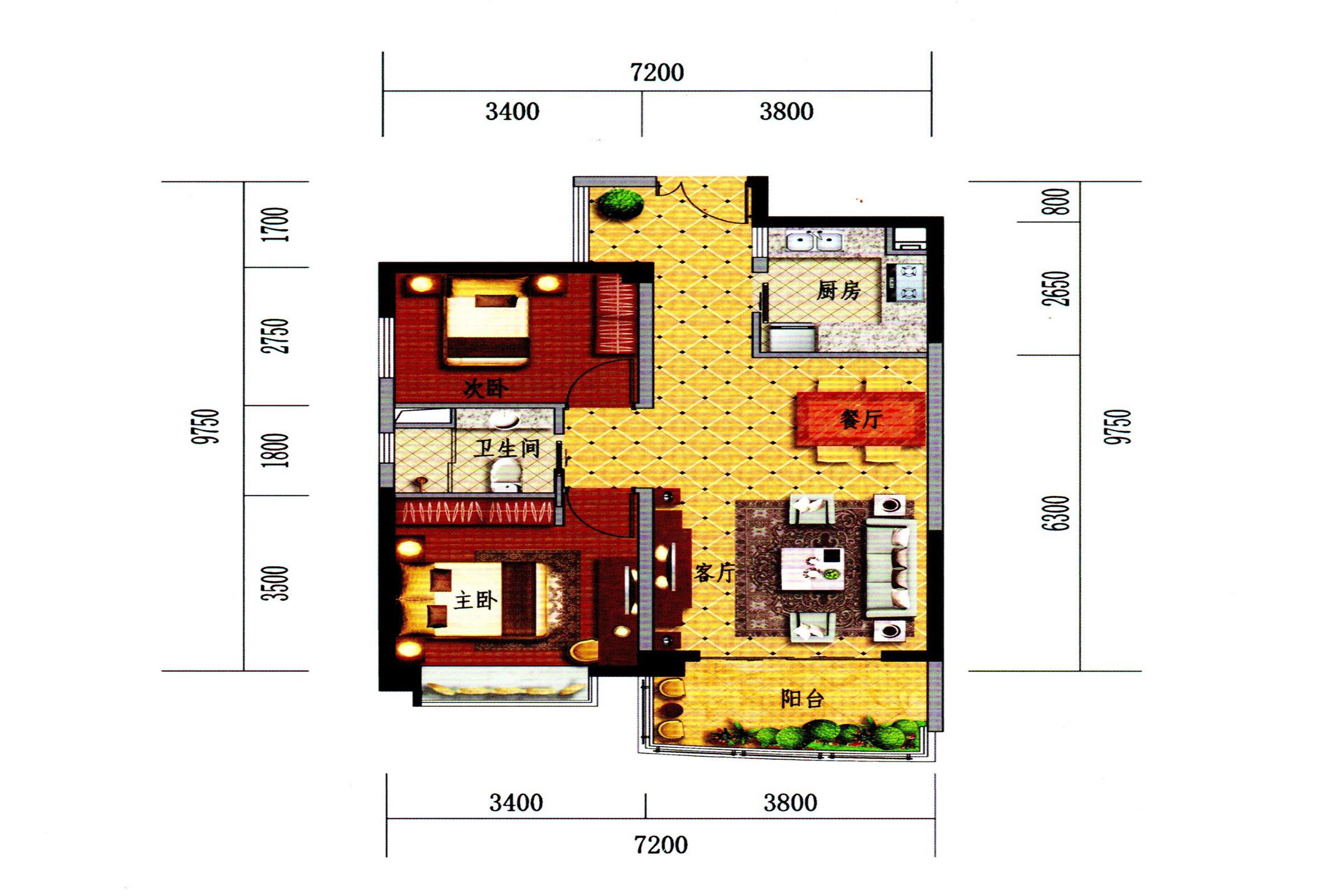 C2-1户型 2房2室1厅 建面80㎡